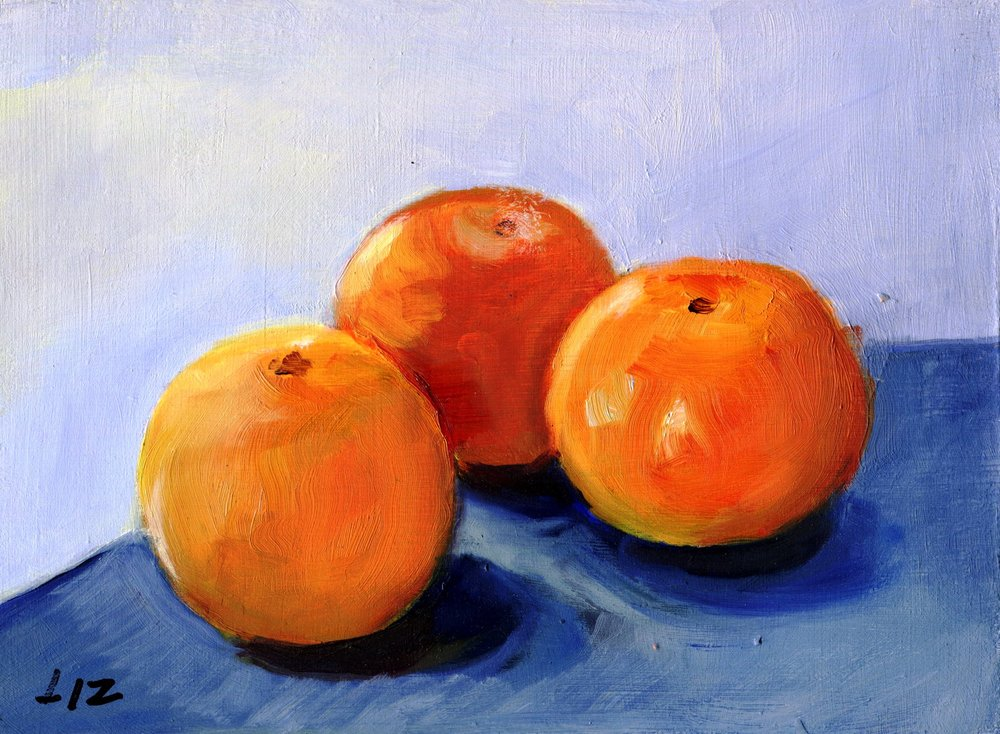20C ELIZABETH SPEIGHT, THREE ORANGE NAARTJIES, OIL ON BOARD