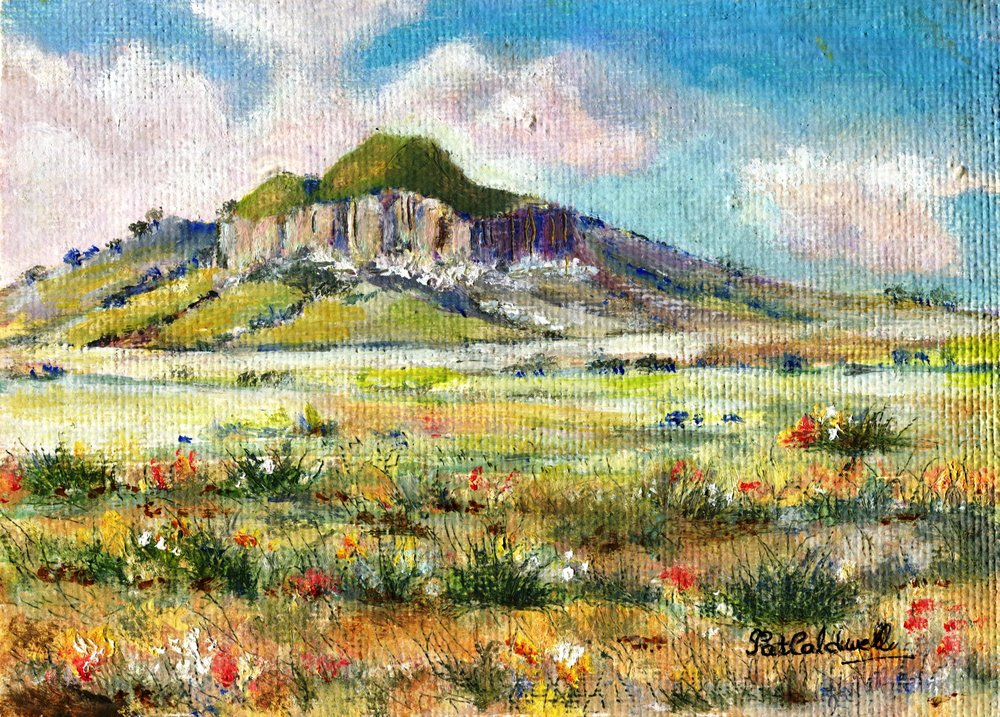21A PAT CALDWELL, LITTLE MOUNTAIN NEAR HARRISMITH, OIL ON BOARD