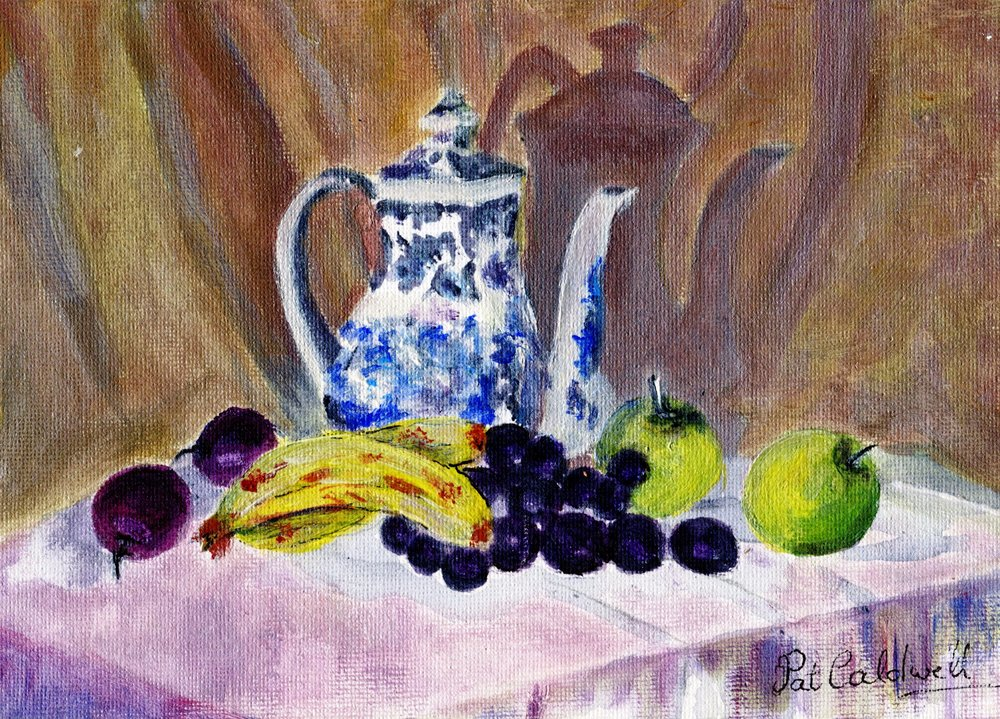 21B PAT CALDWELL, STILL LIFE, ACRYLIC ON CANVAS PANEL