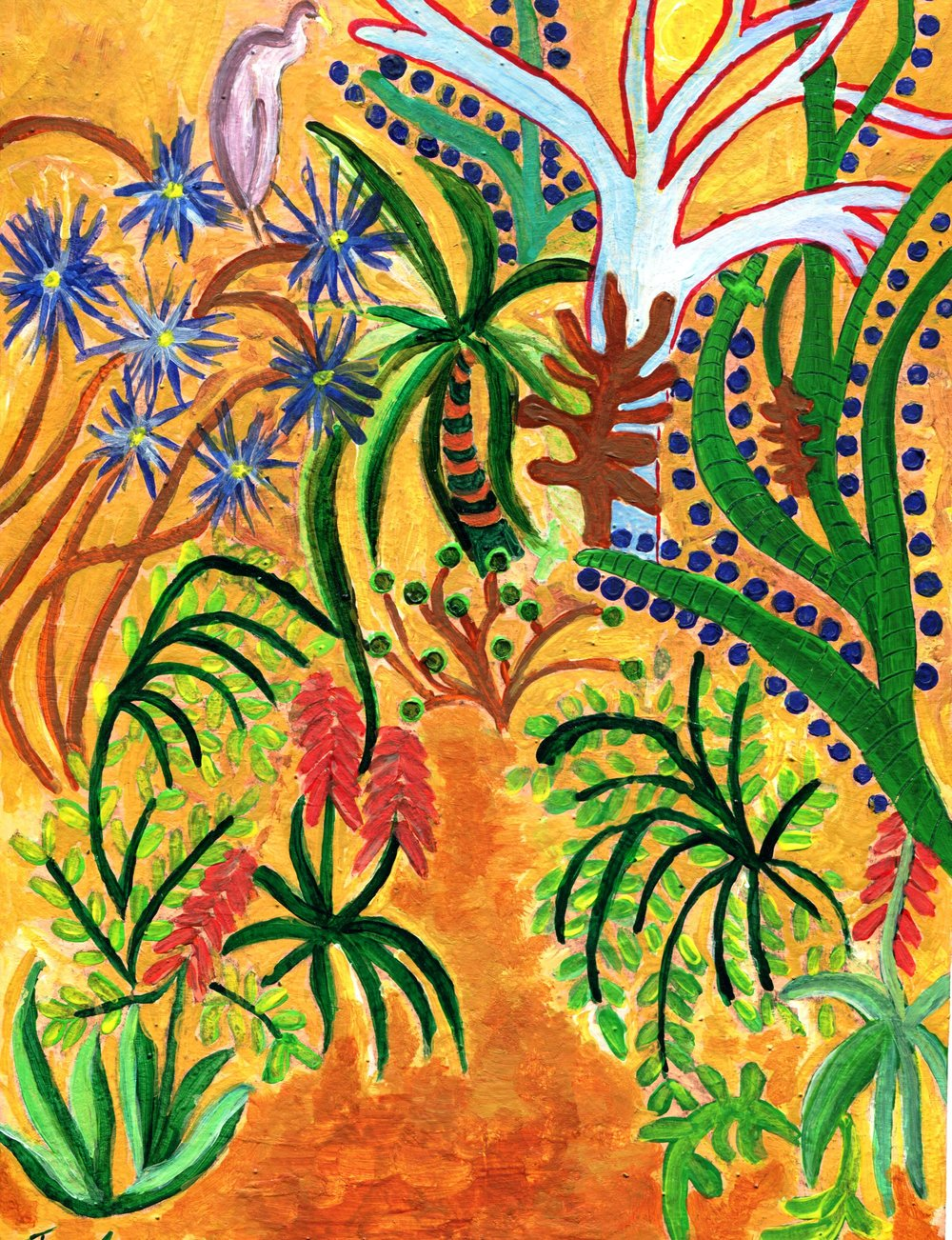 22A JACQUELINE EDWARDS,GENTLE JUNGLE, ACRYLIC ON CARD