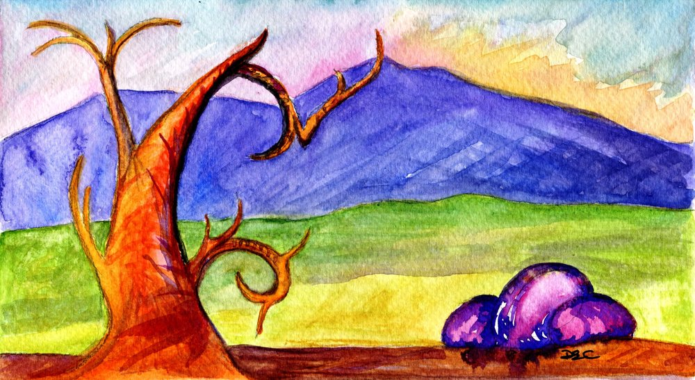 24B DIANA ELIZABETH CATTELL, PINK ROCKS ON THE ROAD, WATERCOLOUR ON PAPER