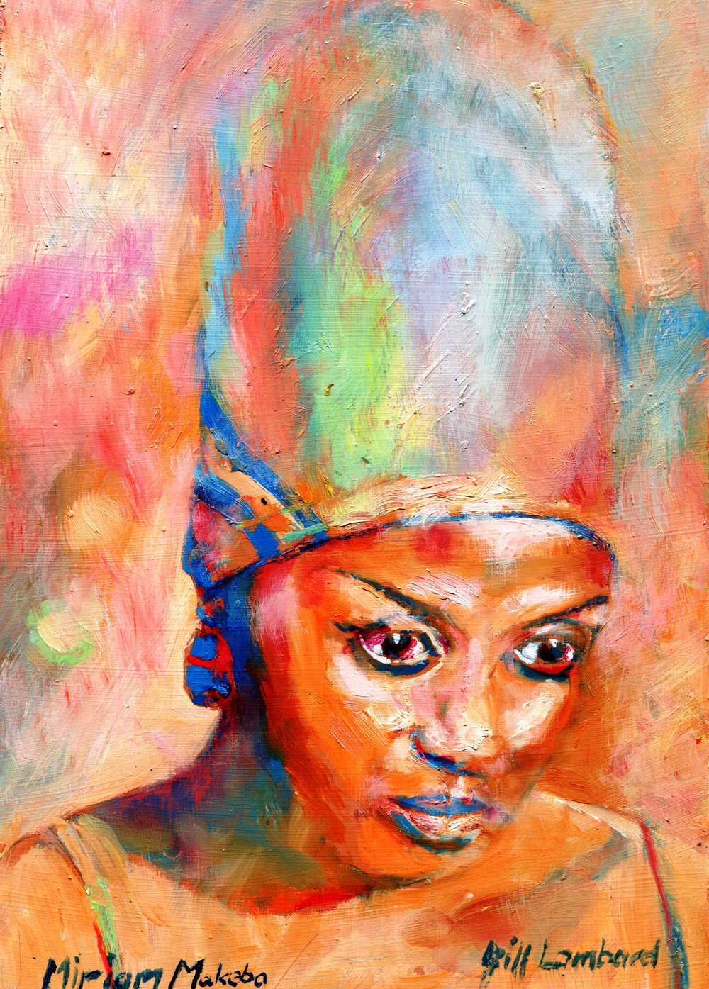 26A BILL LOMBARD, MIRIAM MAKEBA, OIL ON BOARD