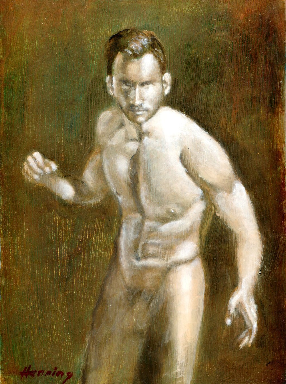 28B DENNIS HENNING, NUDE, OIL ON BOARD
