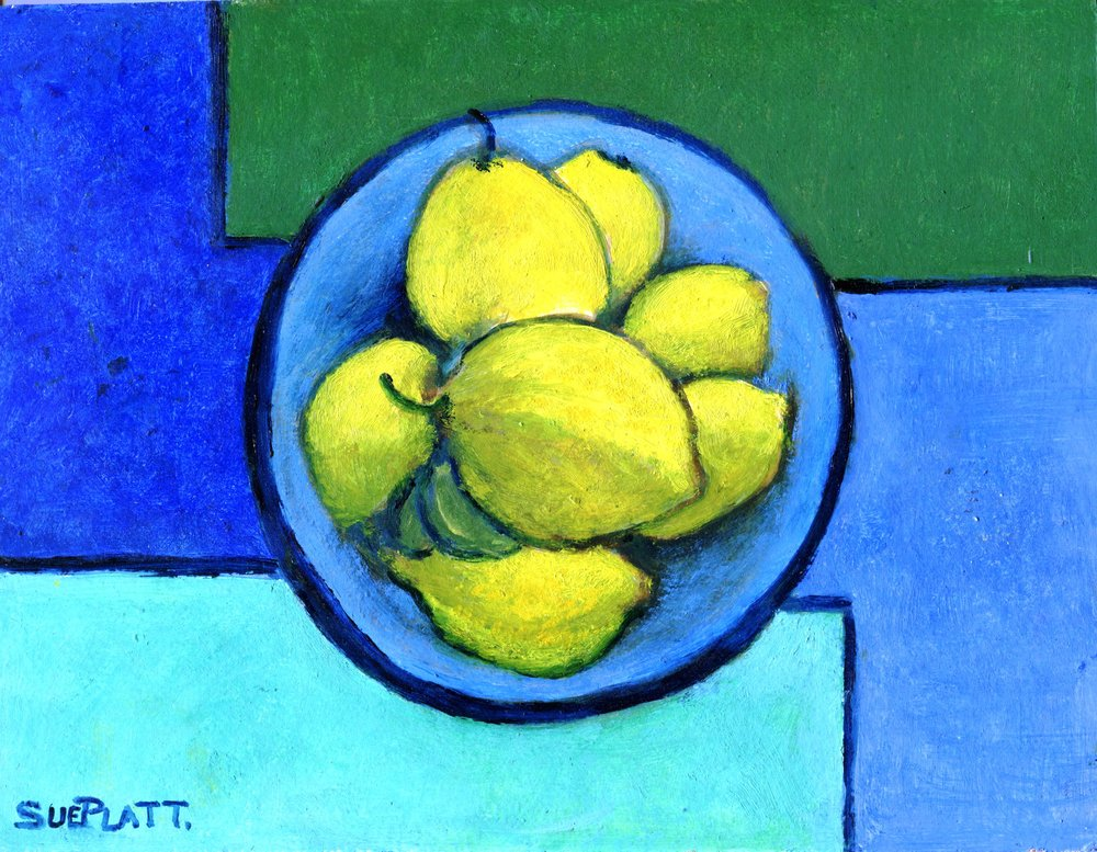 29C SUE PLATT, STILL LIFE WITH LEMONS, OIL ON BOARD