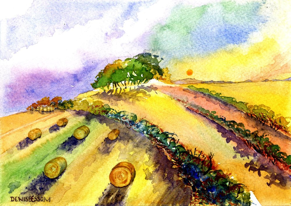 32B DENISE ESSOM, HARVEST TIME, WATERCOLOUR ON PAPER