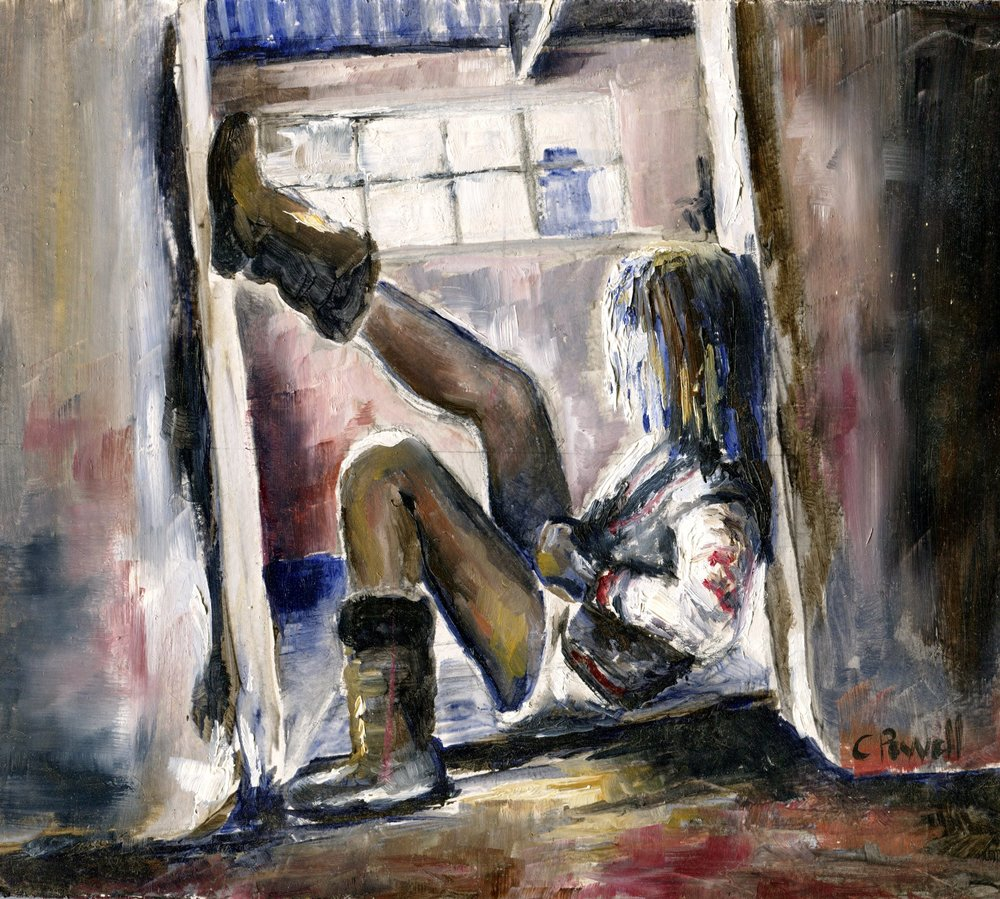 34A CINDY POWELL, GIRL IN DOORWAY, OIL ON BOARD