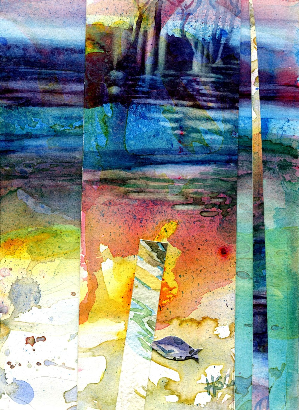 36B HERMINE SPIES-COLEMAN, SUBMERGED 1, WATERCOLOUR ON PAPER