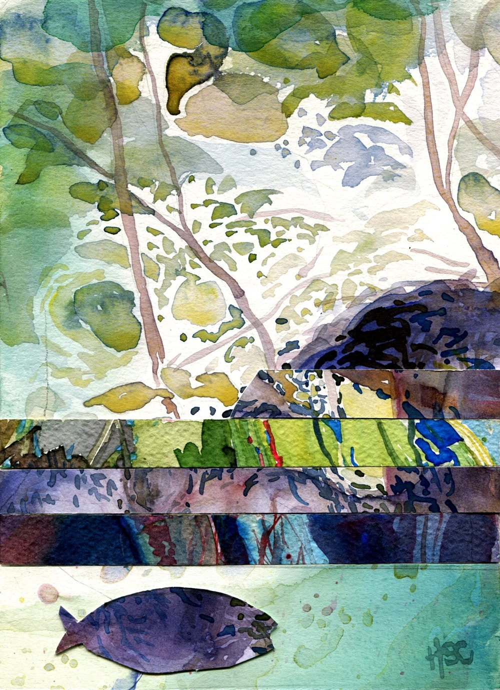 36C HERMINE SPIES-COLEMAN, SUBMERGED 2, WATERCOLOUR ON PAPER