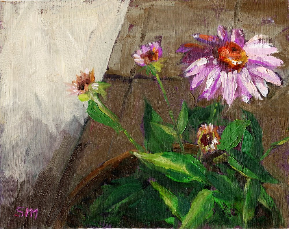 37A SUSAN MALAN, CONE FLOWER, OIL ON BOARD
