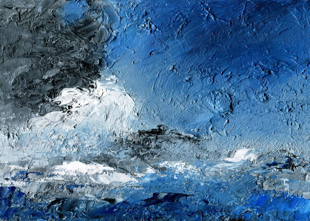 38A TEREZA HARLING, HIGH WAVE, OIL ON CANVAS PANEL
