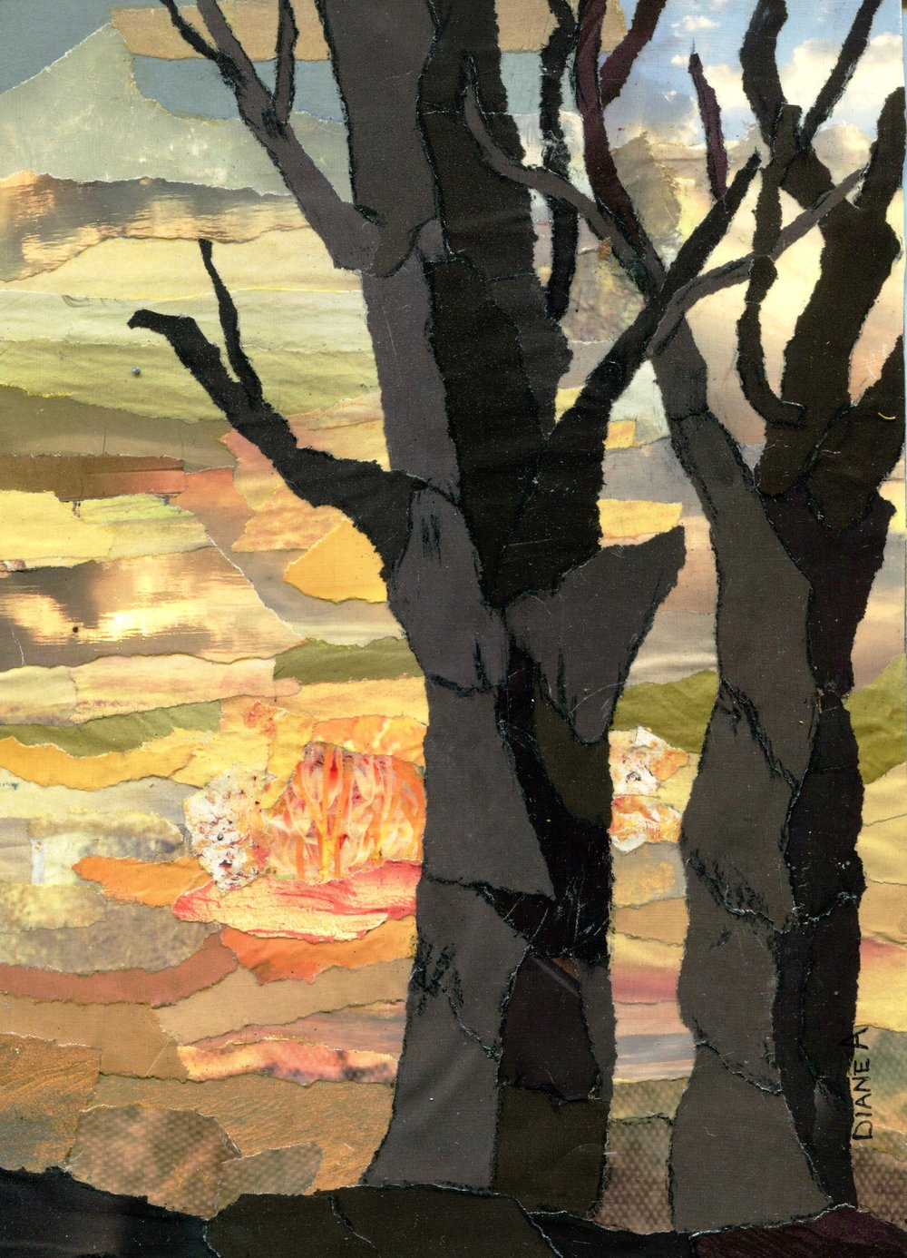 40A DIANE ALDWORTH, WINTER SUNSET, PAPER COLLAGE ON BOARD