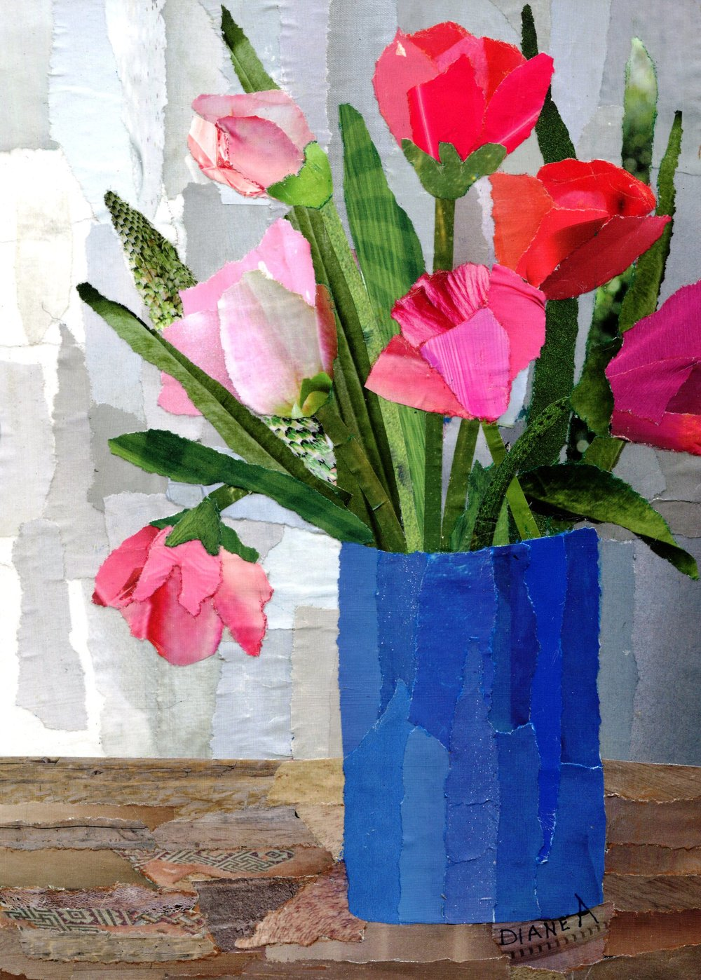 40C DIANE ALDWORTH, TULIPS, PAPER COLLAGE ON BOARD