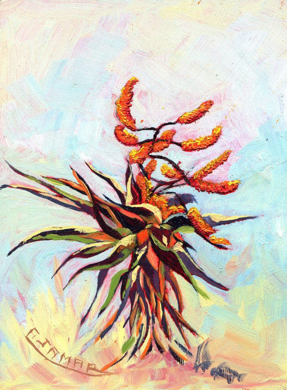 42B CHRISTIANE VARNEY JAMAR, ALOES, OIL ON SUPAWOOD