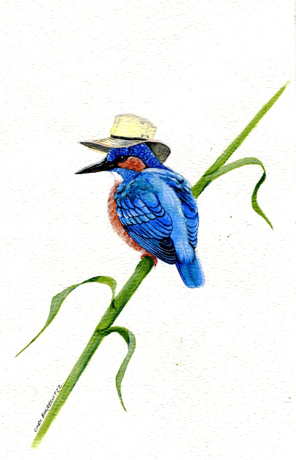 54A CINDY BONKEWITZZ, KINGFISHER, ACRYLIC ON PAPER