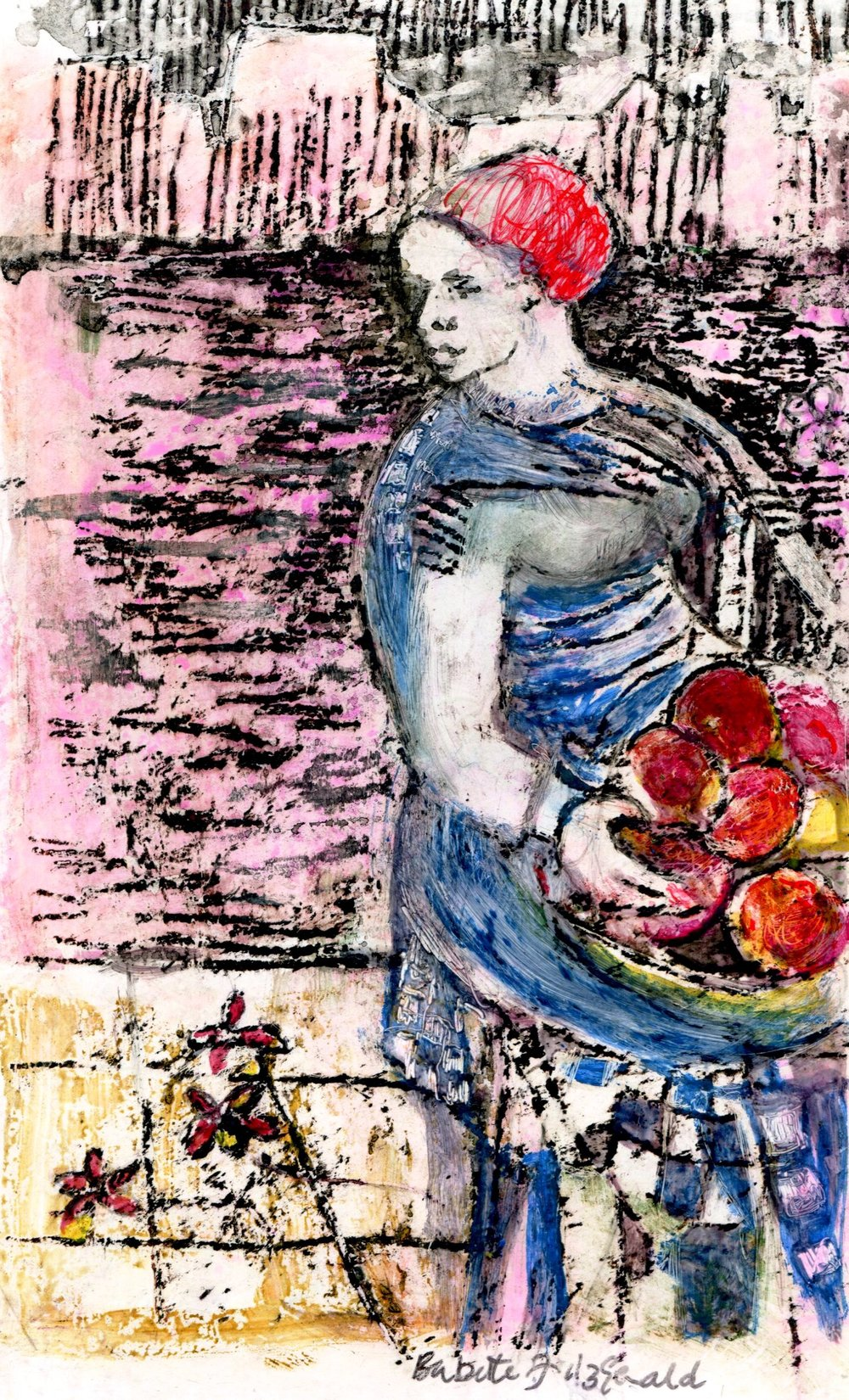 56A BABETTE FITZGERALD, FRUIT SELLER, MIXED MEDIA ON PAPER