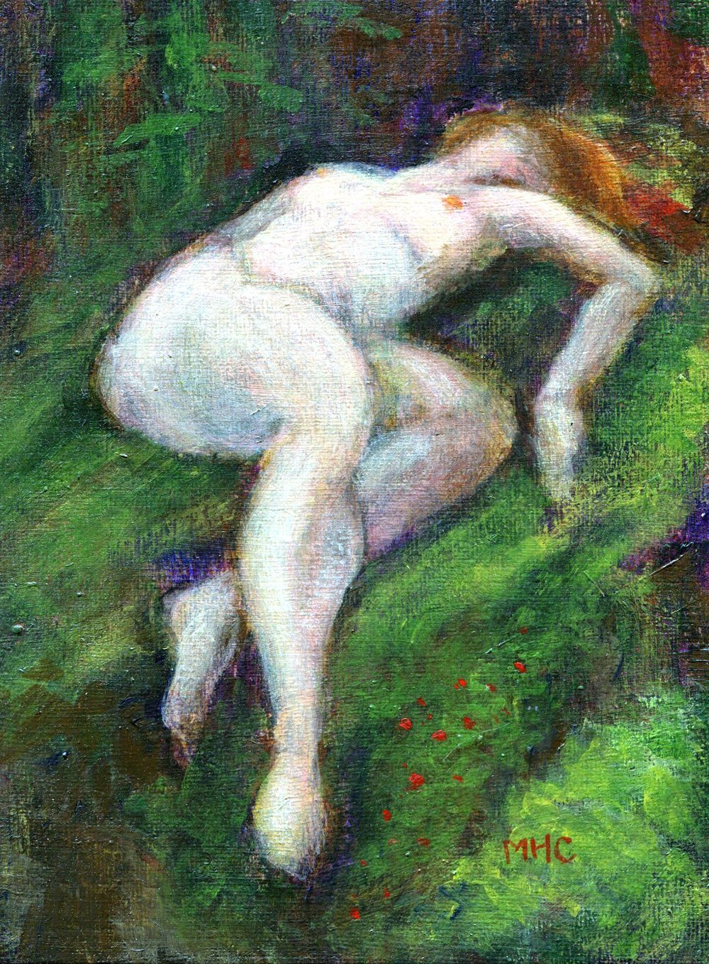 58C MORAY COMRIE, DREAMING DRYAD, OIL ON CANVAS BOARD
