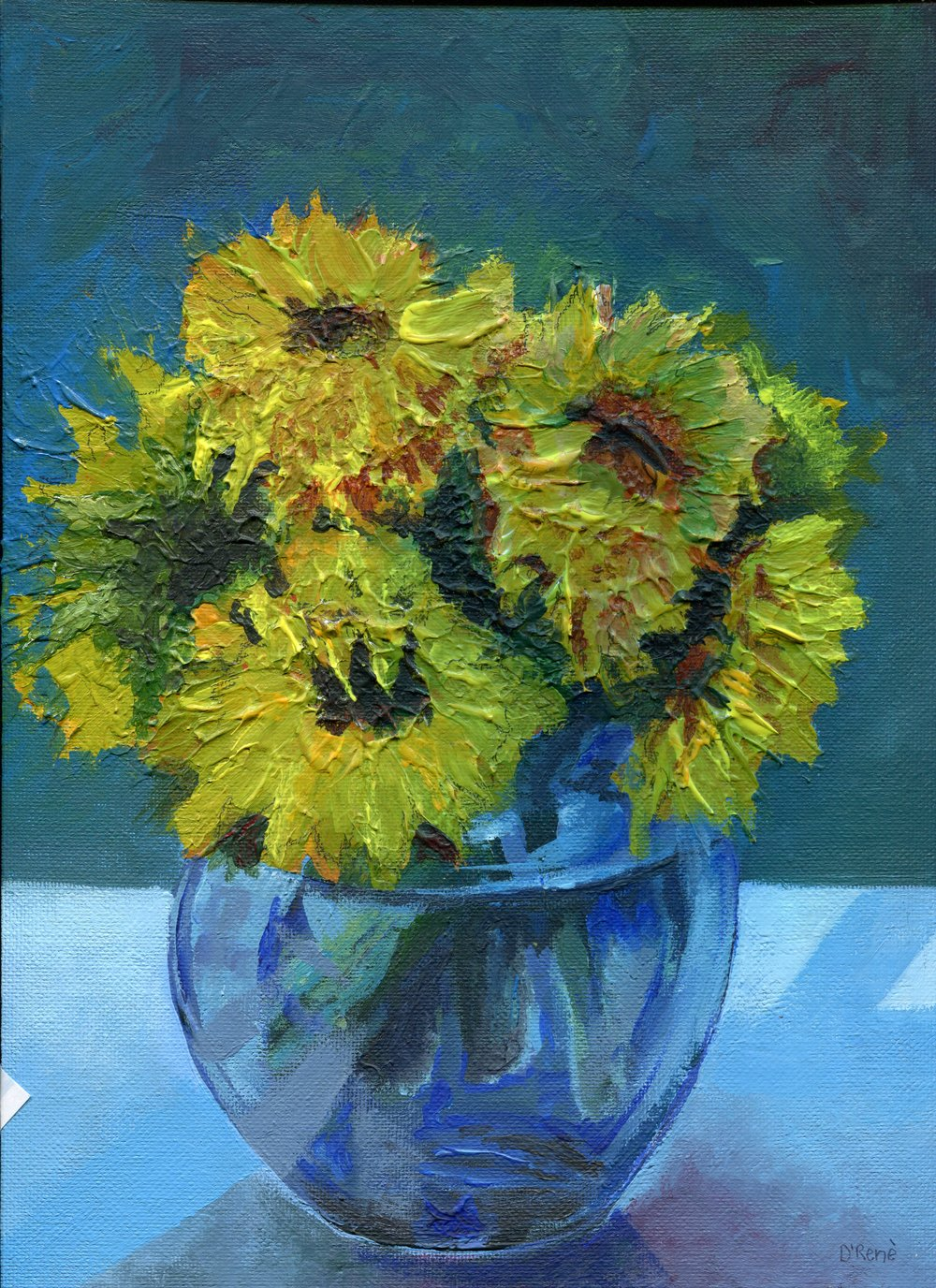 70A D'RENE PLUNKETT, SUNFLOWERS, ACRYLIC ON BOARD