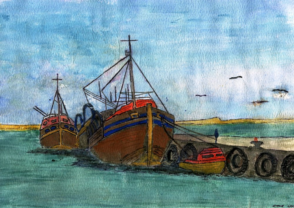 73A CHRIS LAKE, TRAWLERS AT SALDANHA BAY, WATERCOLOUR ON PAPER