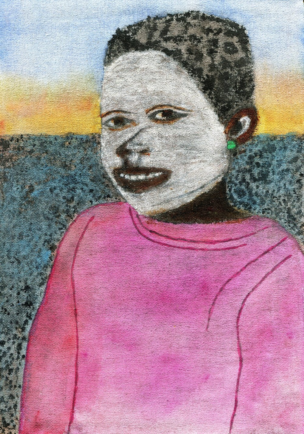 73B CHRIS LAKE, XHOSA MAIDEN, ACRYLIC & WATERCOLOUR ON CANVAS
