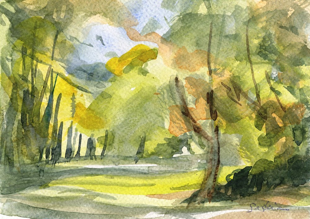 80A SASKIA OSBORNE, SUMMER, WATERCOLOUR ON PAPER