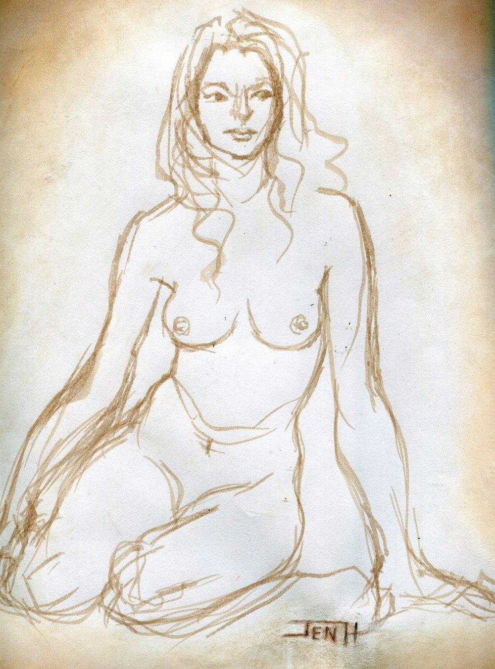 81A JENNY HALLOWES, MODERN MADONNA, INK & PASTEL ON PAPER