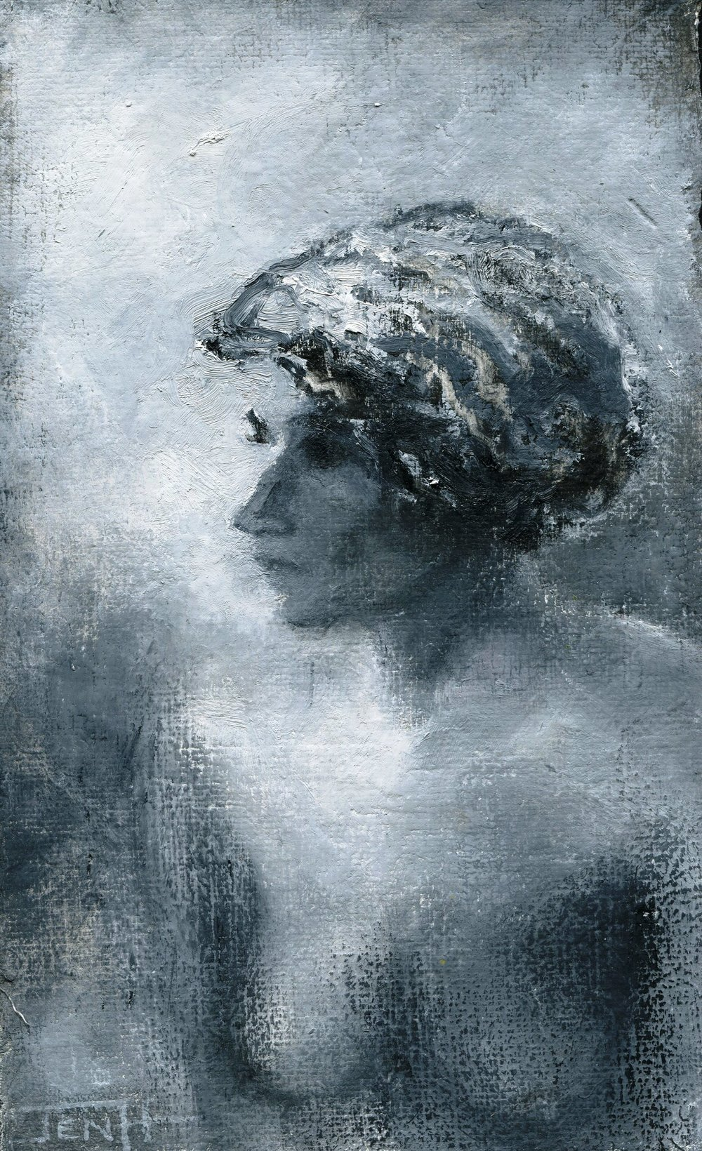 81B JENNY HALLOWES, THE GIRL WITH THE CURLY HAIR, OIL ON GESSOED PAPER