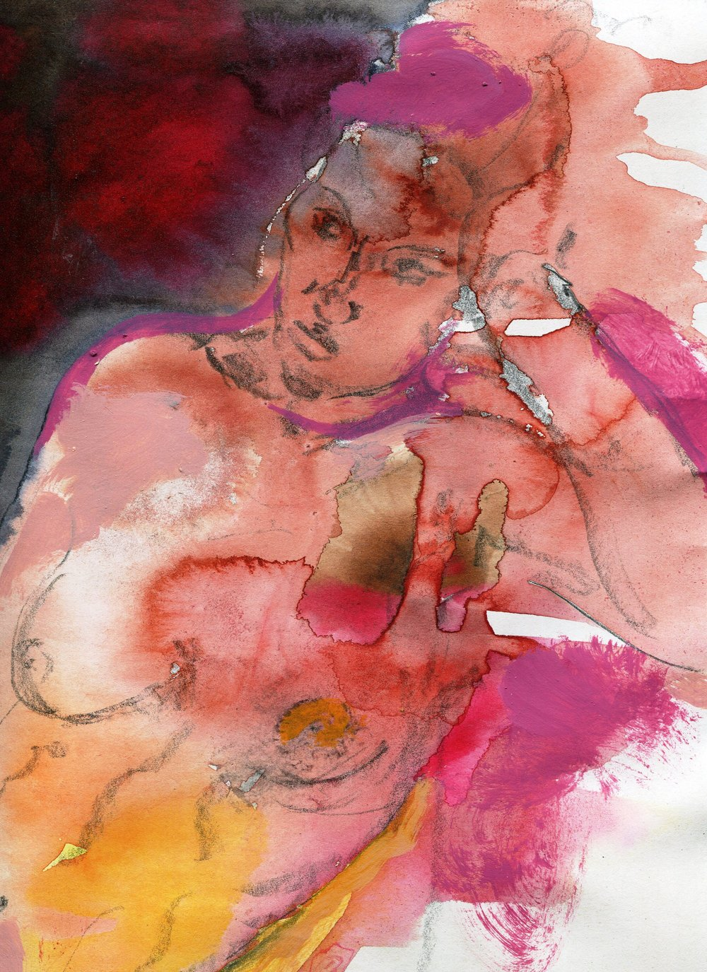 87B PENNY FORDER, STAIN, MIXED MEDIA ON PAPER