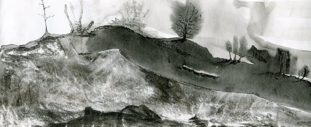 89B MONIQUE VAN DEVENTER, LANDSCAPE, INK & CHARCOAL ON PAPER