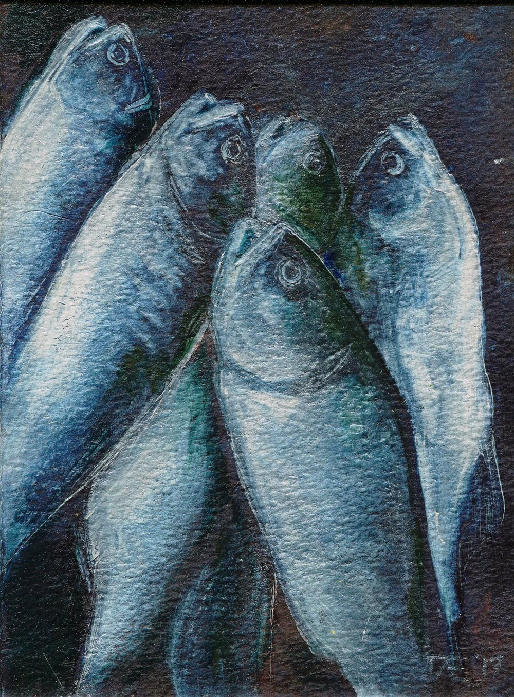 90B DORET EGE, CATCH OF THE DAY, OIL OVER ACRYLIC ON PAPER