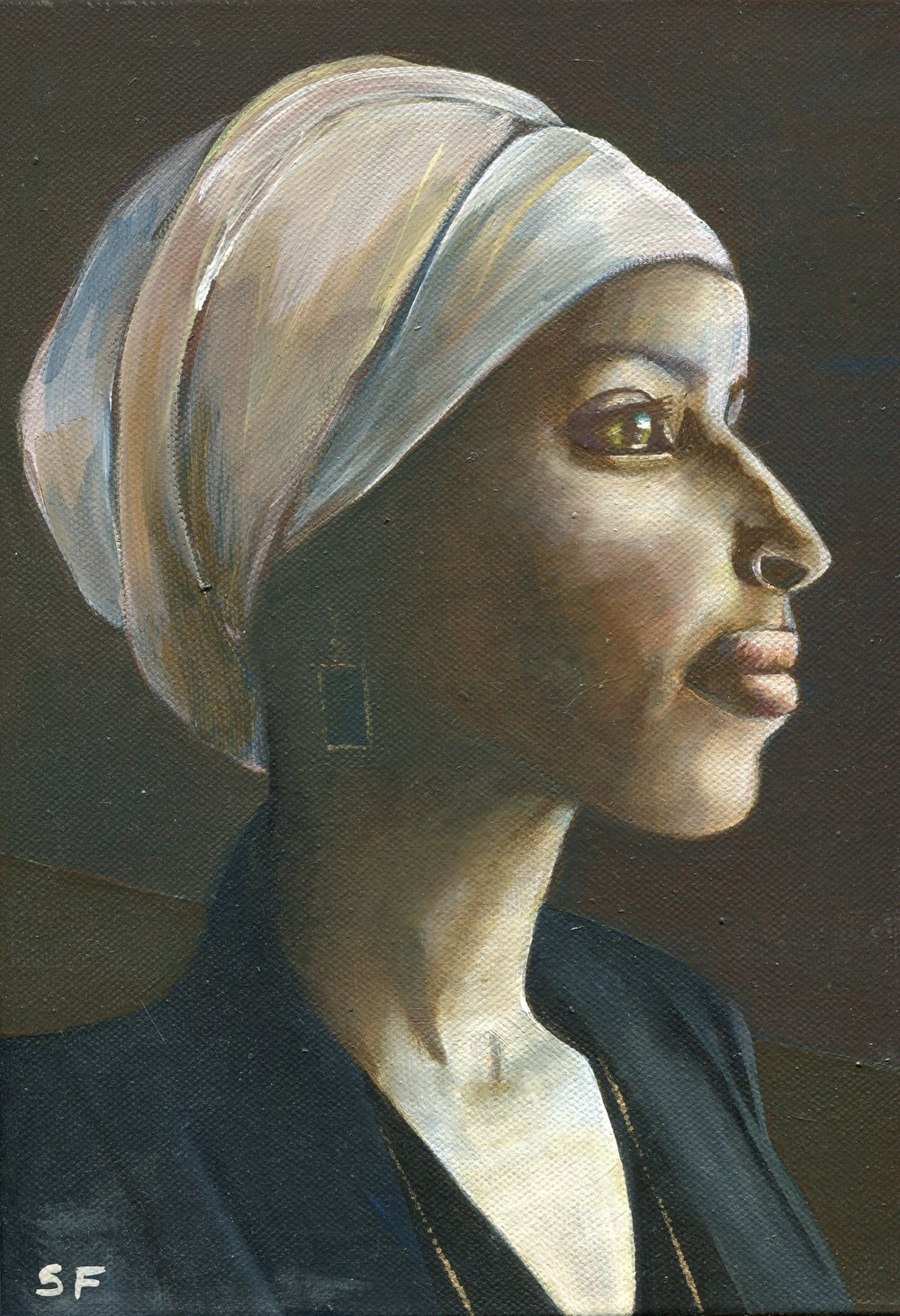 104A SUSAN FIRTH, ILHAN OMAR (FIRST SOMALI-AMERICAN MUSLIM WOMAN LEGISLATOR), OIL ON CANVAS