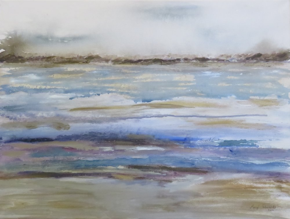 31A MERYL EDWARDS, ABSTRACT SEASCAPE, MIXED MEDIA ON CANVAS