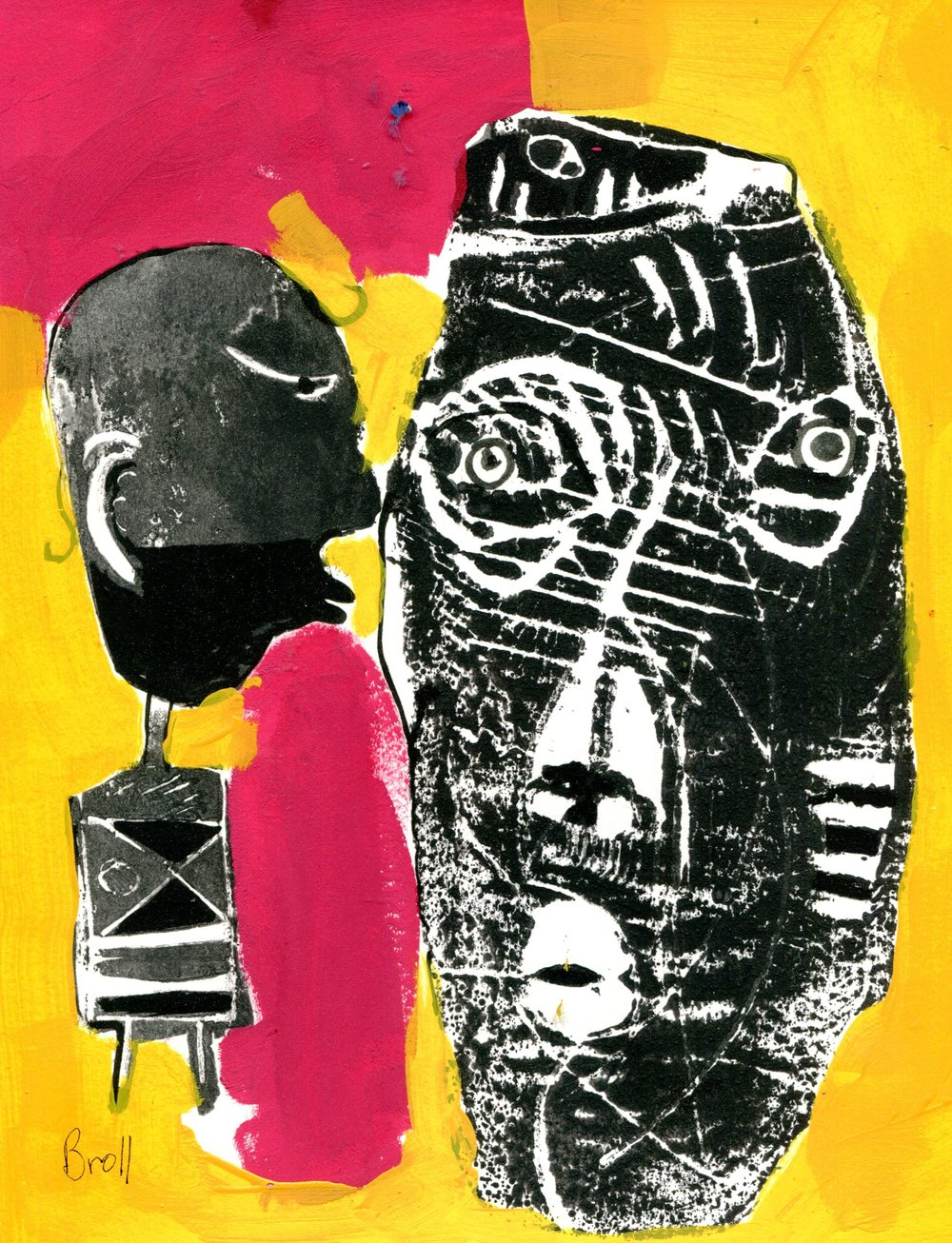 51B TERRI BROLL, THE KISS, MONOTYPE ON PAPER