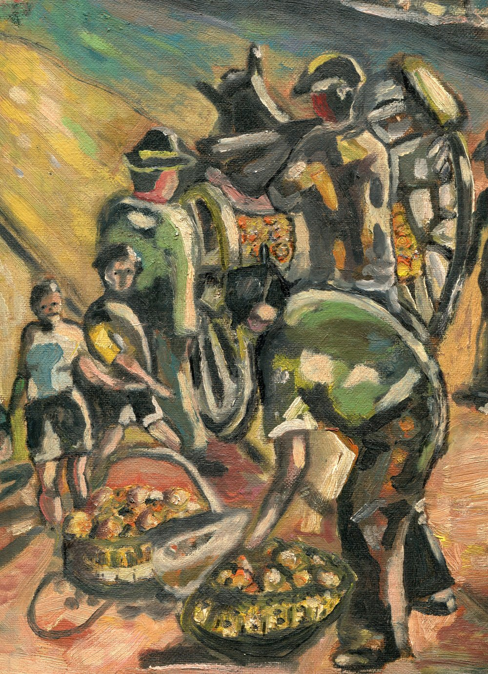 10A  Alta Nel  Street vendors  oil on board