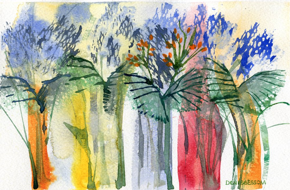 13A  Denise Essom  Fantasy forest  watercolour on paper