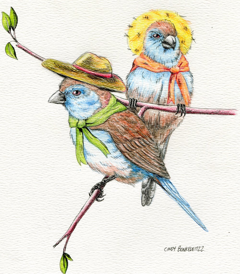 15B  Cindy Bonkewitzz  Blue waxbill on a journey  mixed media on paper