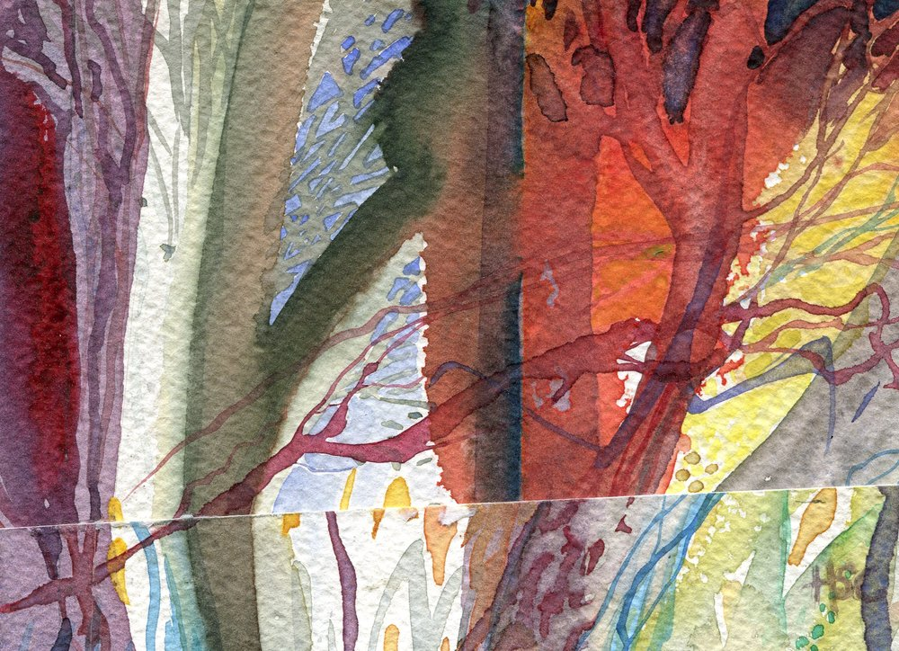 19B  Hermine Coleman  Forest  watercolour collage on paper