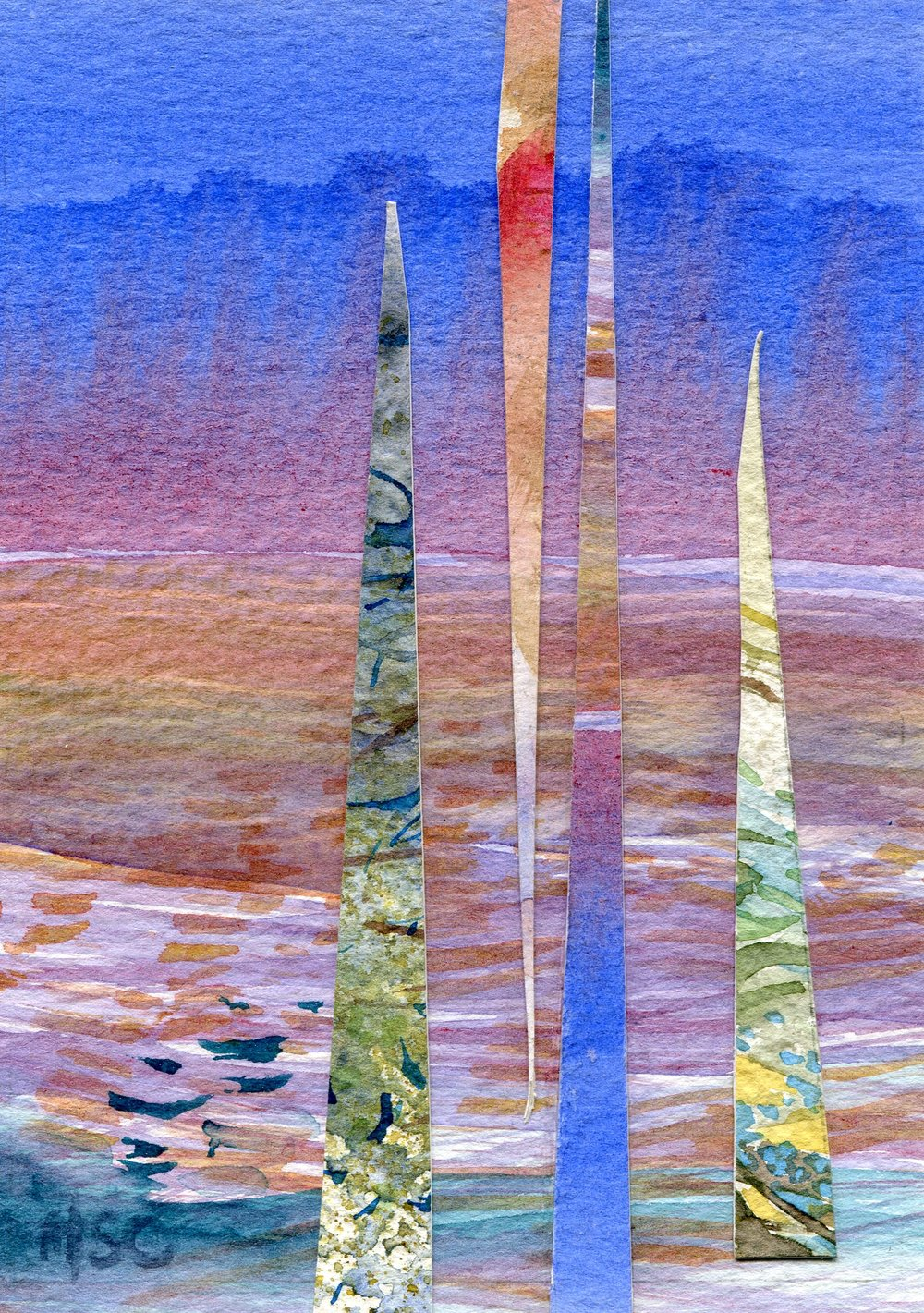 19C  Hermine Coleman  Reflection  watercolour collage on paper