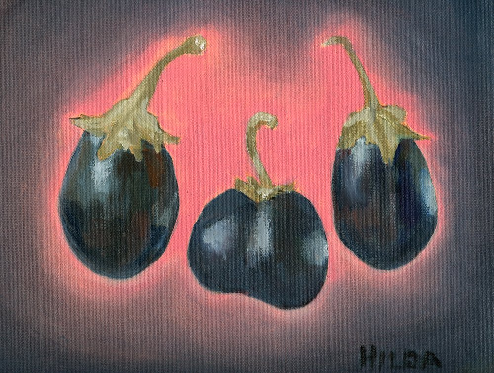 21B  Hilda Stuart-Hill  Aubergines  oil on canvas paper