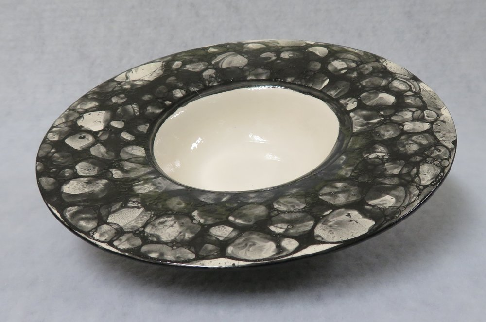 23A  Louise Higginson  Black and white bubble glaze bowl  ceramic