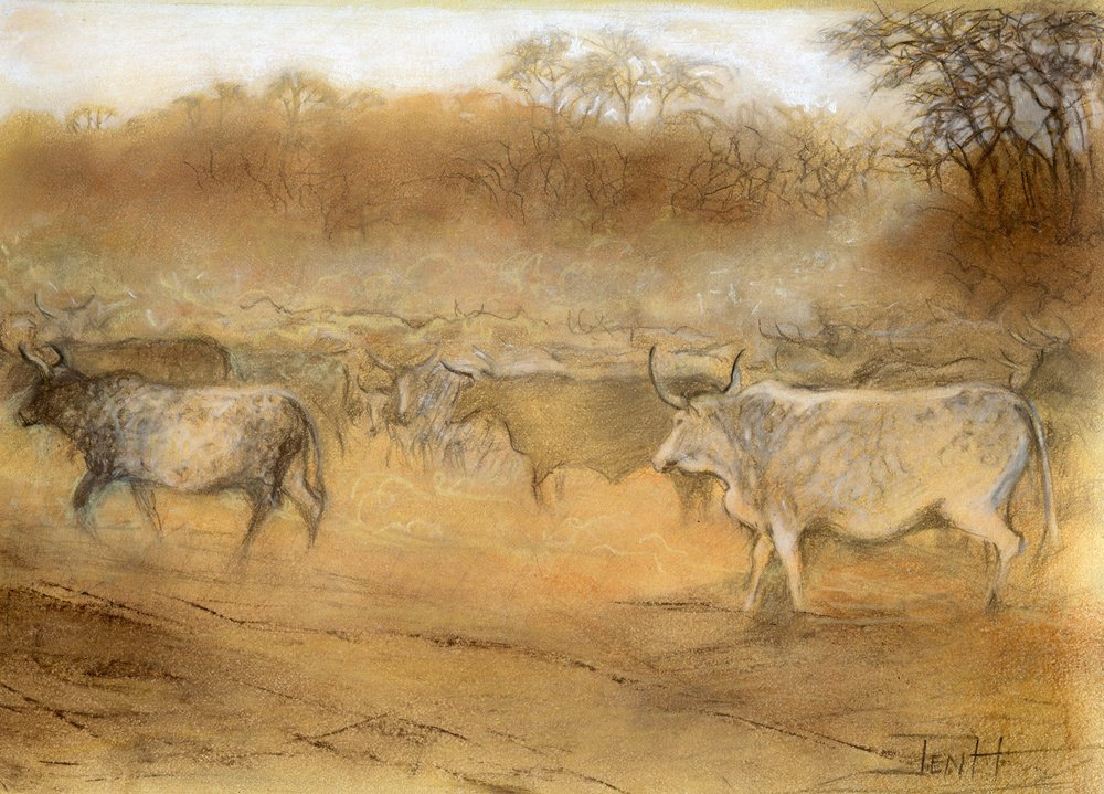 24A  Jenny Hallowes  Gathering the herd  pastel on paper