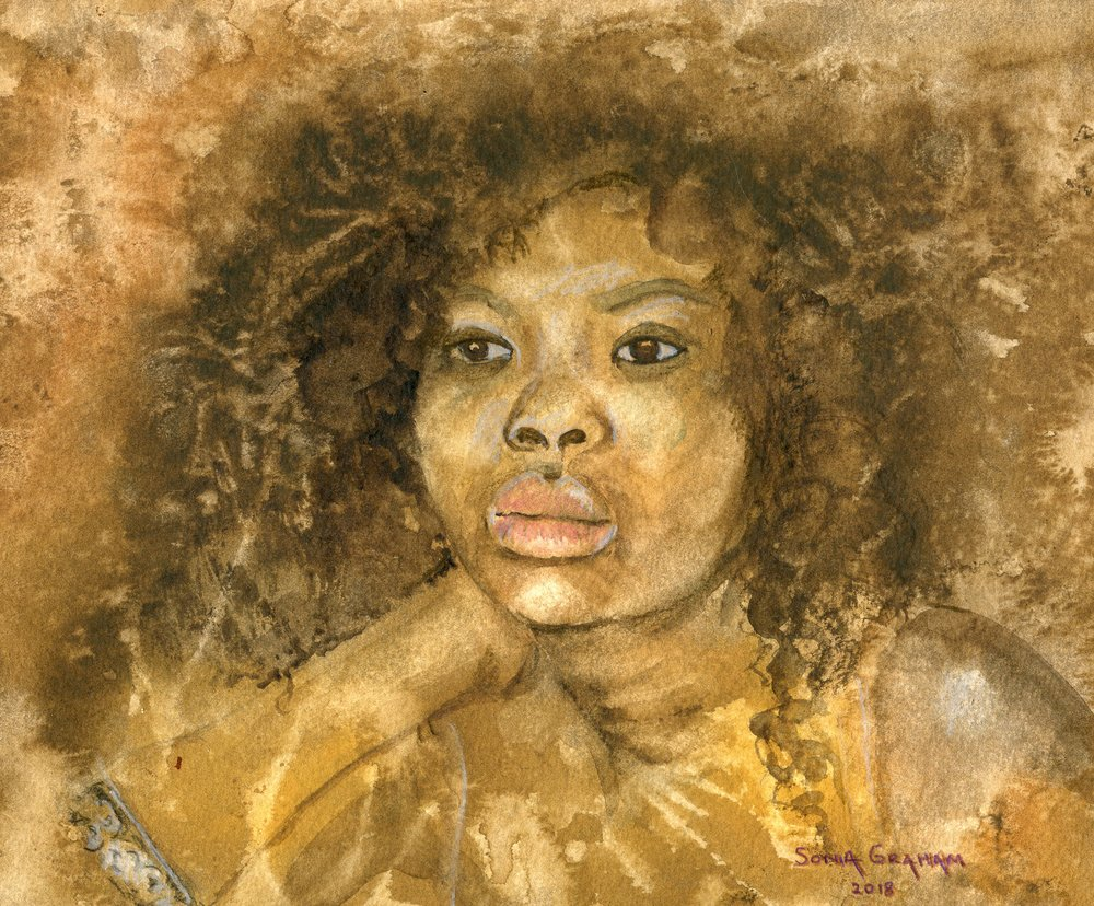 28B  Sonia Graham  Artist and model 2  watercolour on paper