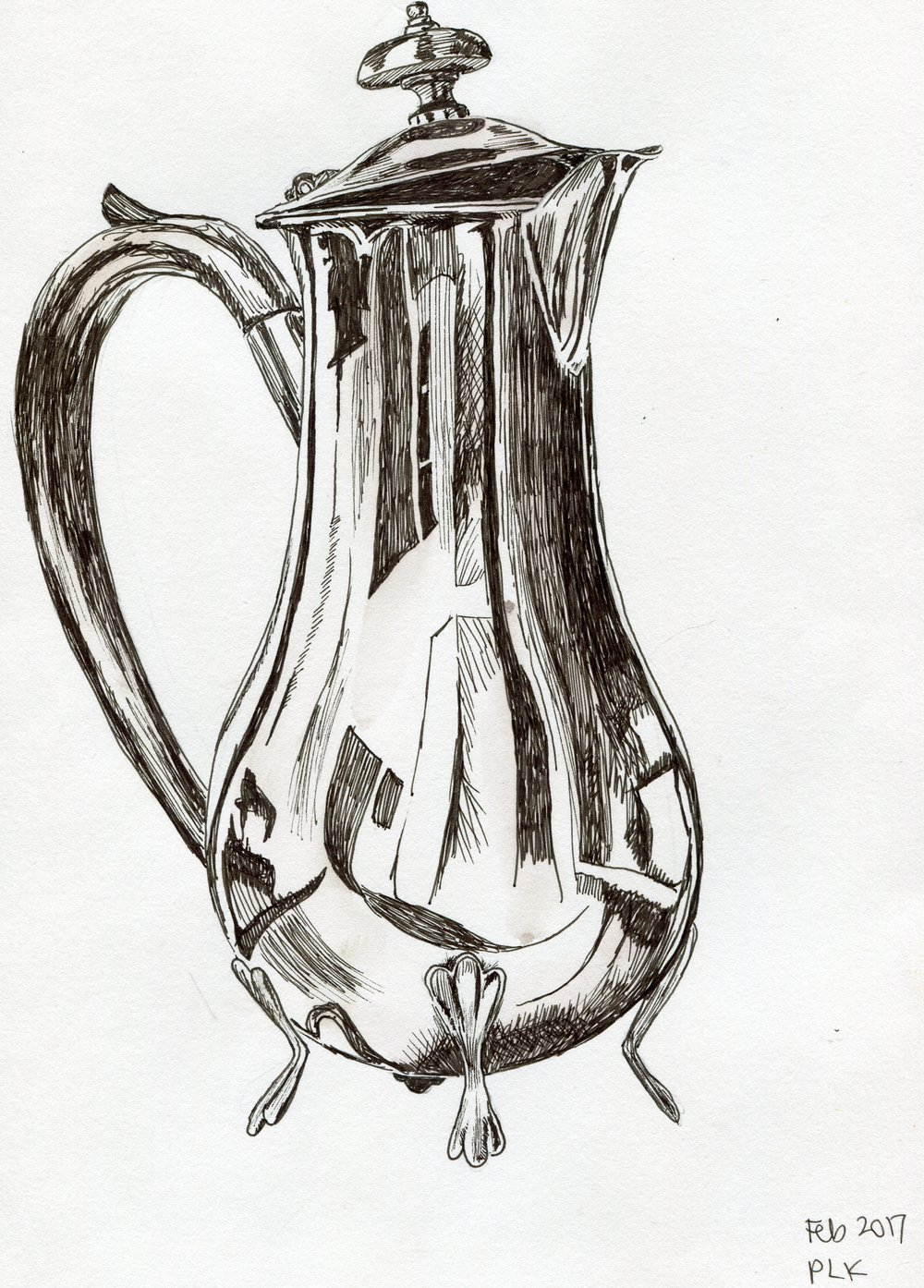 30A  Philippa Kerr  Silver jug  pen and ink on paper