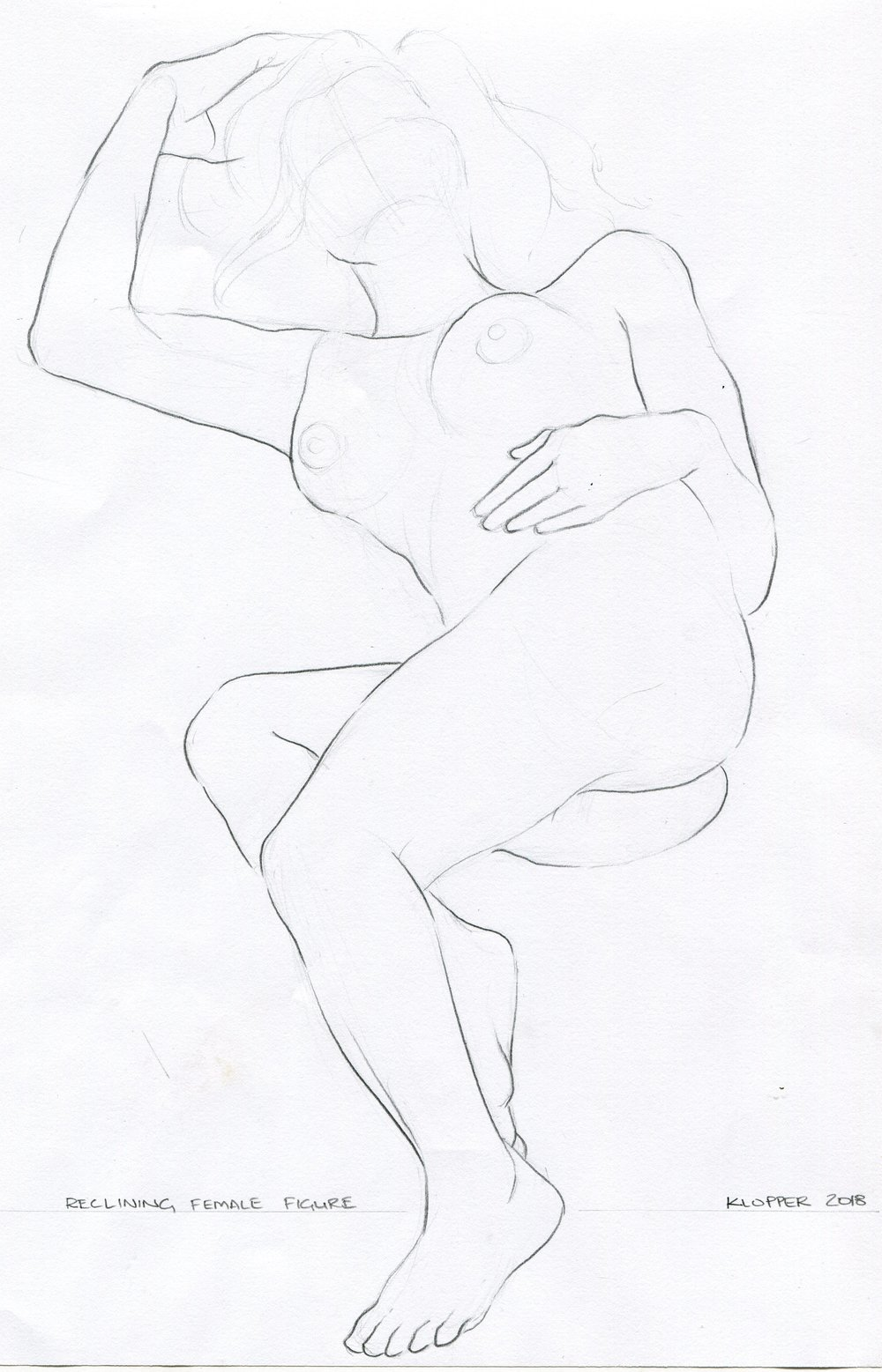 33B  Rory Klopper  Reclining female figure  pencil on paper