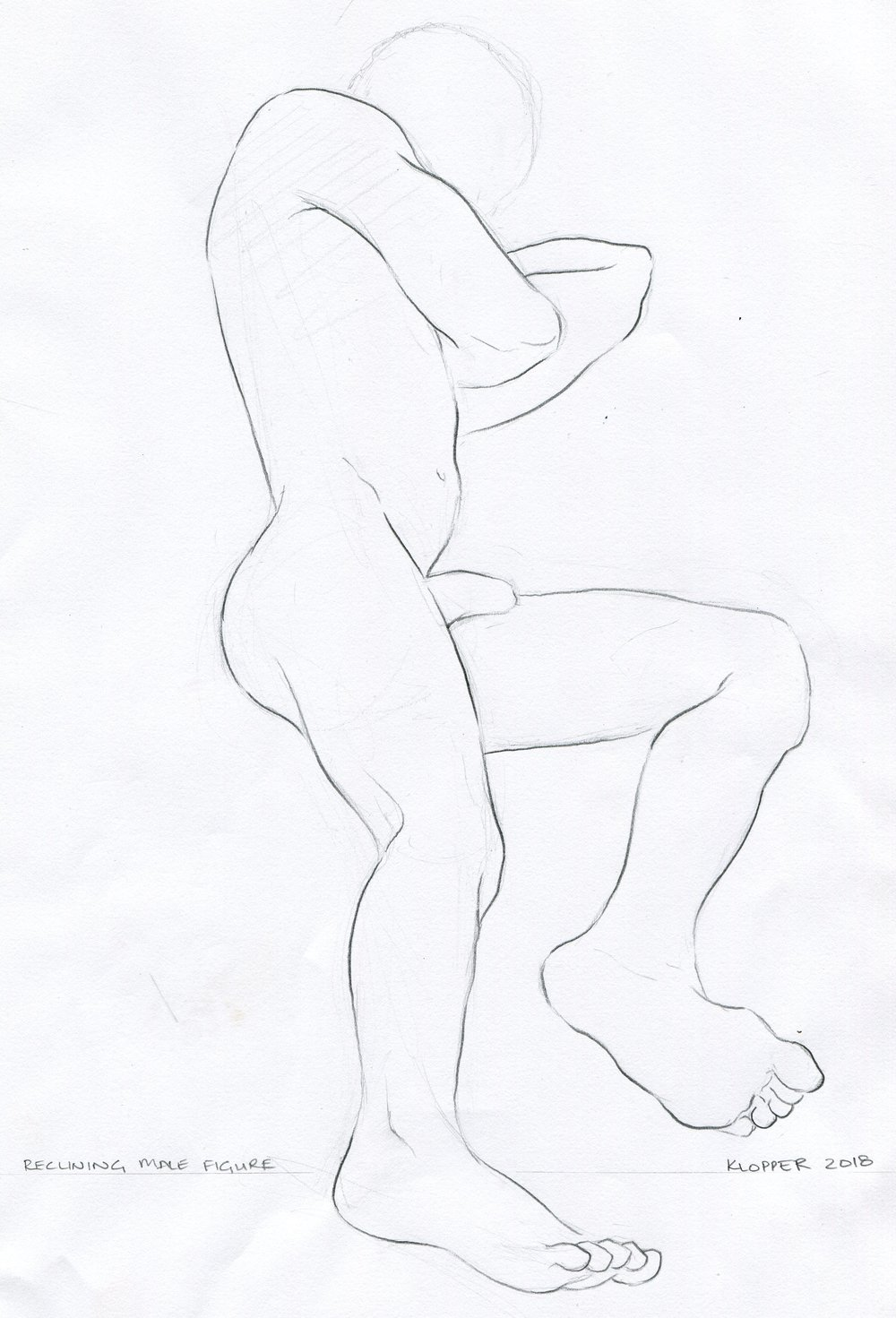 33A  Rory Klopper  Reclining male figure  pencil on paper