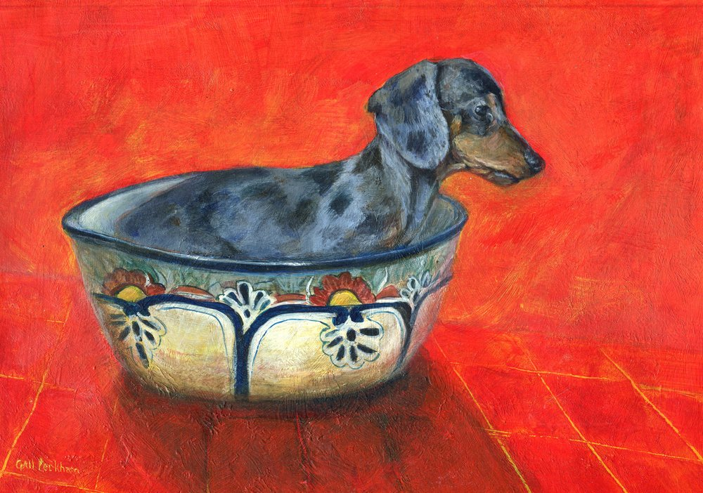 34a  Gail Peckham  Dog Bowl  acrylic on paper