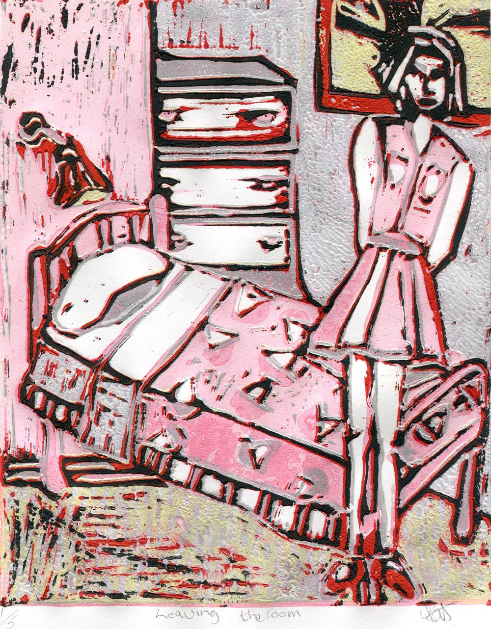 39a  Elize Buchler  Leaving the room  linocut print on paper