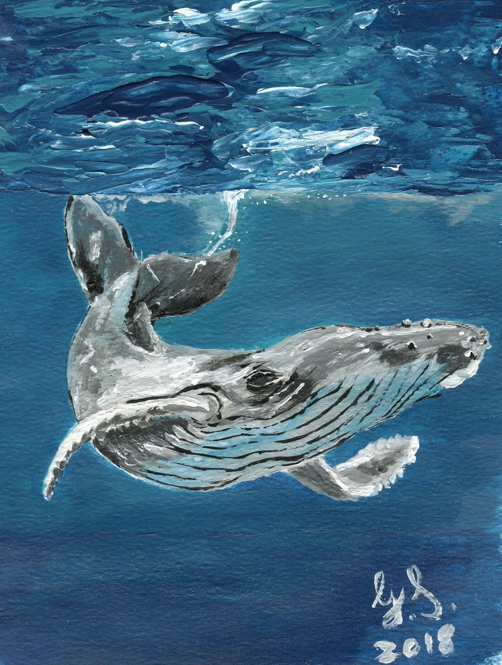 42b  Gerda Swanepoel  Friendly whale  acrylic on paper