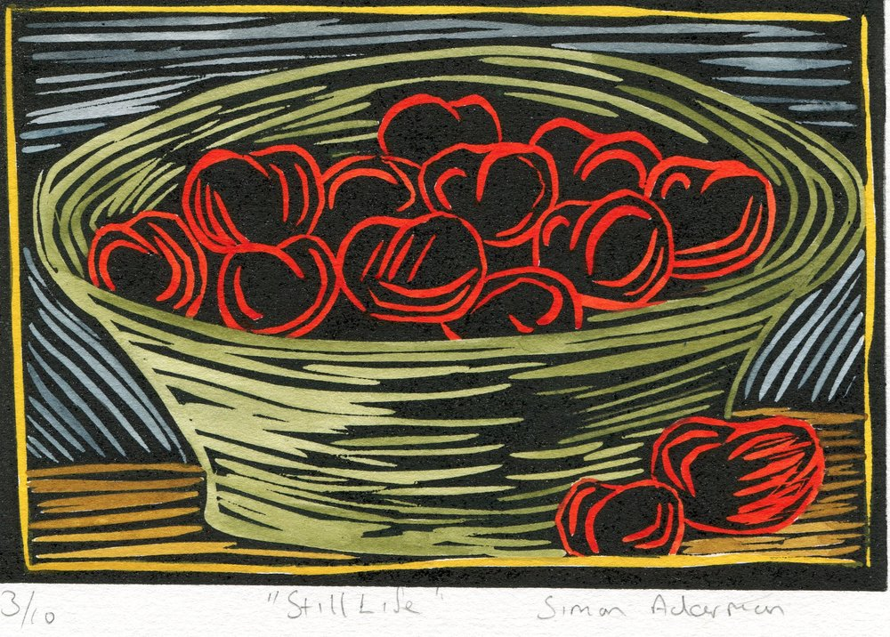 44a  Simon Ackerman  Still Life  linocut print (painted) on paper