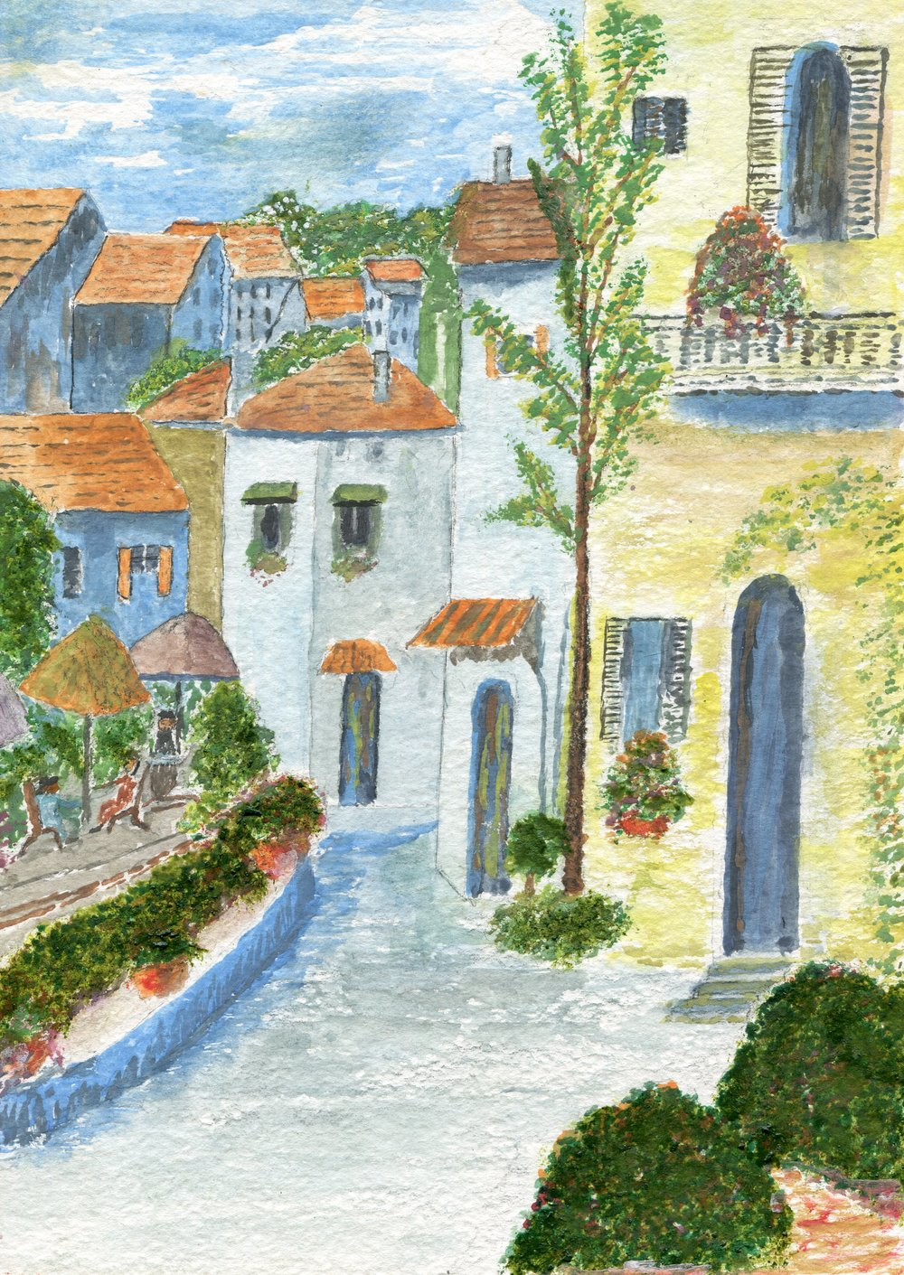 46a  Chris Lake  Algarve village street, Portugal  watercolour on paper