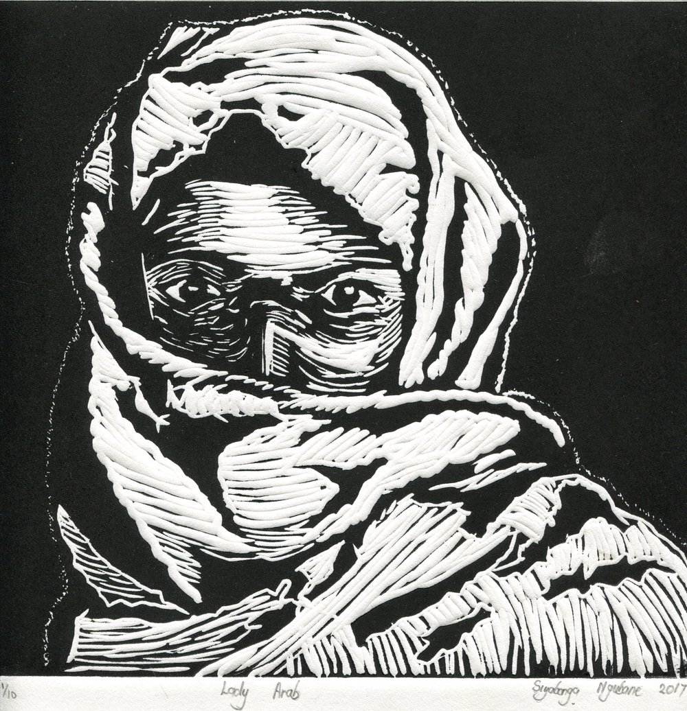 48a  Siyabonga Ngubane  Lady arab  linocut print on paper